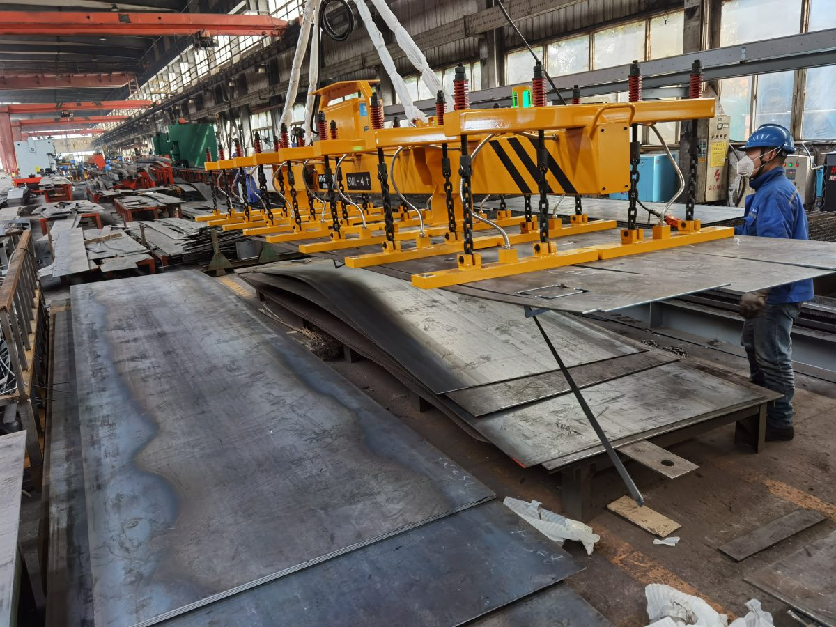 Lifting Magnet Safety Operation - Unloading Cut Steel Plate Parts | HVR MAG