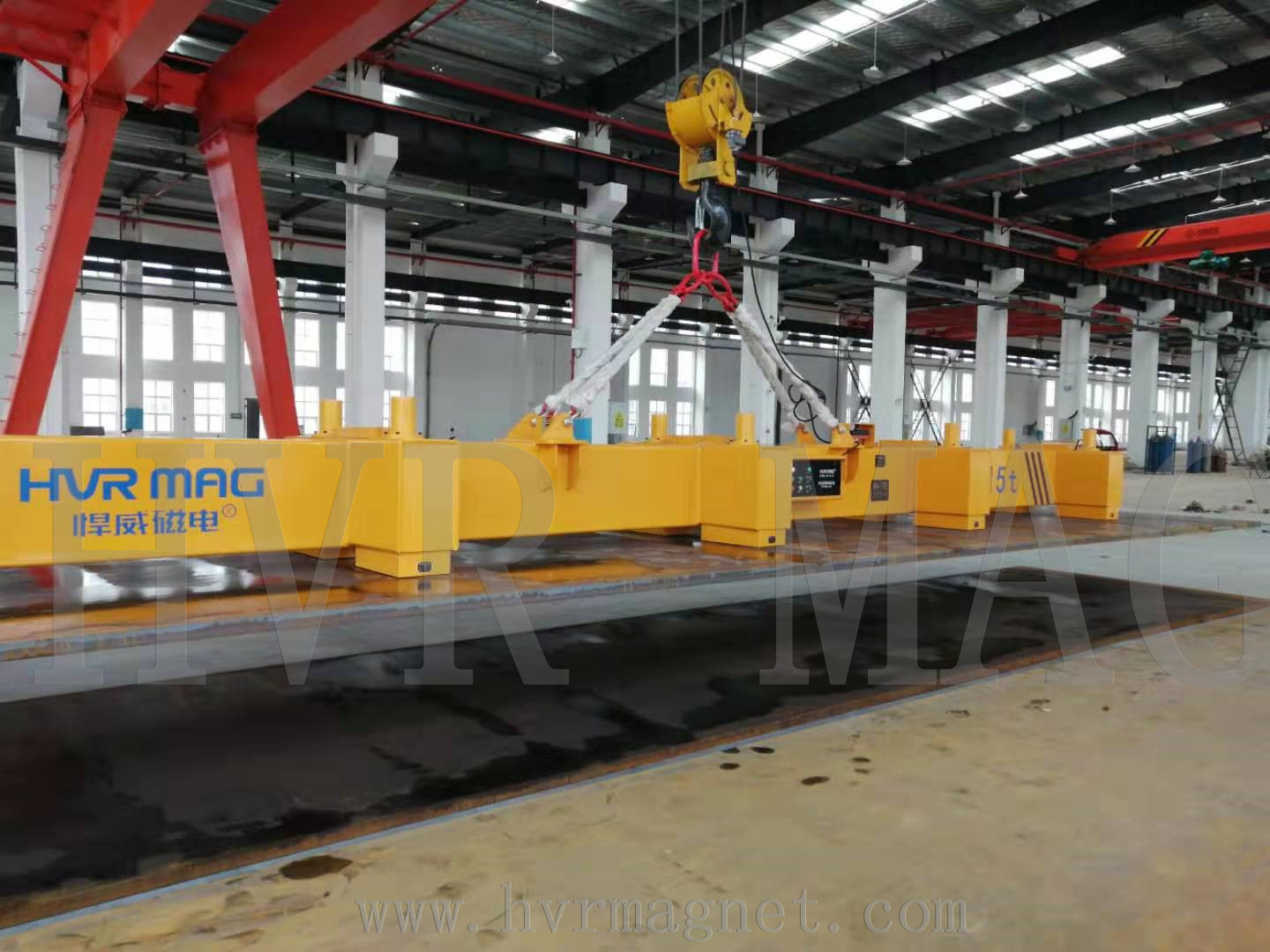 Magnetic lifting of thick steel plate with hoisting crane - HVR MAG