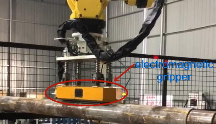 Electromagnetic gripper for robotic pick and place of round bar - HVR MAG