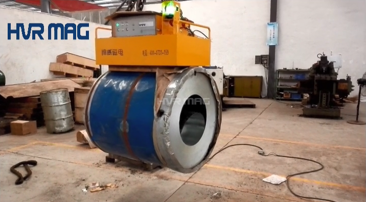 Electro permanent lifting magnet for steel coils