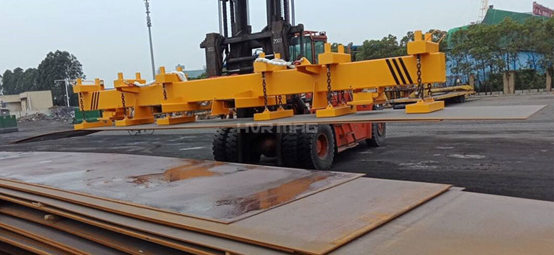 Multiple Metal Plates Handling with A Forklift