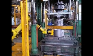 Lifting Steel Part with Magnetic Gripper on Robotic Arm