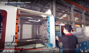 Injection Molding Machine Changing Mold with Magnetic Quick Mold Change System - HVR MAG
