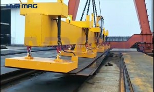 Multiple Steel Plates Loading Single Plate Unloading with HVR Lifting Magnets