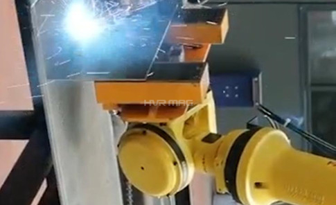Handling Sheet Metal Part with Magnetic Gripper in Robotic Welding Line