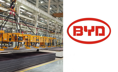 Lifting Electromagnet for Extra-Long Steel Plate Handling in BYD