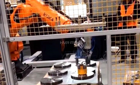 Robot Arm Palletizing Circular Steel Workpiece with Customised Magnetic Gripper