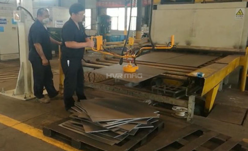 Electro-permanent Magnet on Manipulator Arm Unloading for Steel Plate Leveling