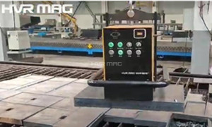 Unloading Cut Steel Slab with Battery Operated Lifting Magnet