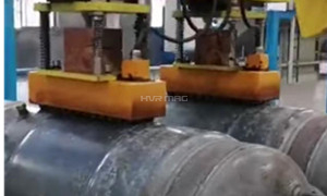Manipulator Transferring Water Heater Tanks with Magnetic Lifters