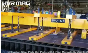 Unloading Steel Sheet Cut Pieces In One Move with Lifting Magnets System