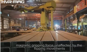 Robot Handling Steel H Beam Blanks with Magnetic Gripper