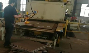 Manipulator Arm Unloading for Steel Plate Leveling with Magnetic Lifter