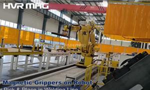 Magnetic Grippers in Robotics for Machine Tending Welding Steel Material Handling