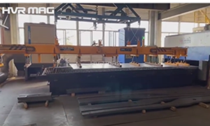 1 Ton Lifting Magnet Loading Thin Steel Sheet onto Cutting Table - HVR MAG