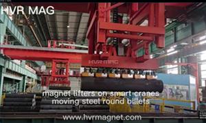Magnetic Lifting of Steel Round Billets on Smart Crane - HVR MAG