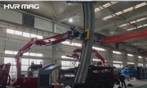 Manipulating Corrugated Arc Plate with Magnet Lifters on Articulating Boom Lift
