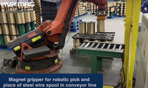 Magnet Gripper for Robotic Pick & Place of Steel Wire Spool in Conveyor Line