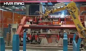 Robot Magnetic End Effector Manipulating Hollow Steel Tube In Automatic Welding Line